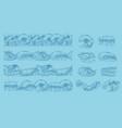drawing ocean waves seamless pattern or border vector image vector image