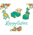 Easter card with duck lamb rabbit and flowers vector image vector image