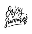 enjoy summer lettering phrase on white background vector image vector image