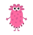 Funny girl monster with big eyes Cute cartoon vector image