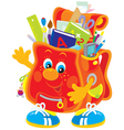 funny satchel with school objects vector image vector image