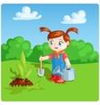 girl doing garden work vector image