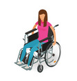 girl woman sitting in wheelchair invalid vector image vector image