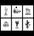 graphic set of funny cacti cards and lettering vector image vector image