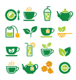Green tea and ice tea icons set vector image