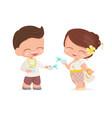 happy young couple enjoy songkran thai water new vector image vector image
