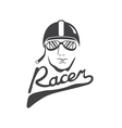 head of racer vintage design template vector image vector image