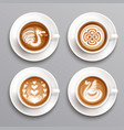 latte coffee set vector image vector image