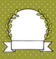 laurel wreath frame with white polka dots on green vector image vector image