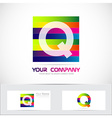 Letter q colored stripes logo vector image vector image