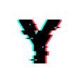 logo letter y glitch distortion vector image