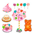 lollipops cakes cake candies and other sweets vector image vector image