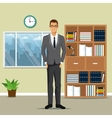 man business office work bookshelf plant pot clock vector image vector image