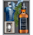men perfume and watch gift set realistic vector image vector image