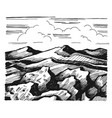 mountains and rock against sky with clouds vector image