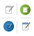notepad with pencil icon vector image