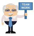 old man with team work sign on white background vector image vector image