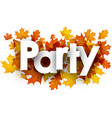 party background with golden leaves vector image