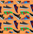 pictures of colored sneakers seamless vector image vector image