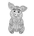 pig coloring page hand drawn vector image vector image