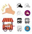 pizza and pizzeria cartoonblackflatmonochrome vector image