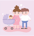 pregnancy and maternity dad and pregnant mom with vector image