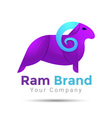 Ram Silhouette Colorful 3d Volume Logo Design vector image