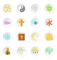 Religion symbols icons set cartoon style vector image vector image