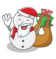 santa with gift snowman character cartoon style vector image
