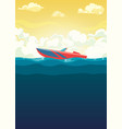 sea of red boat in dawn vector image vector image