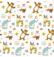 seamless woodland pattern with cute bear fox vector image vector image