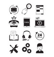 service center black icons tech 24h support vector image vector image