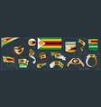set national flag zimbabwe in vector image