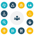 set of 13 editable cooperation icons includes vector image vector image