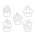 set of cupcakes in trendy one line style vector image