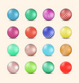 set of glossy colored balls with halftone fill vector image vector image