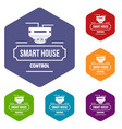 smart house icons hexahedron vector image vector image