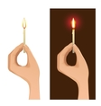 Two images with hand holding lighted candle vector image