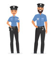 two young happy police officers man and woman vector image vector image