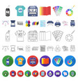 typographical products cartoon icons in set vector image vector image