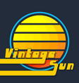 vintage sun with yellow-orange stripes retro vector image