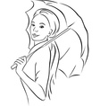 young woman with parasol - black outline vector image vector image