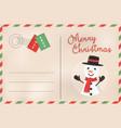 merry christmas retro snowman holiday postcard vector image