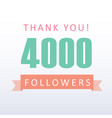 4000 followers thank you number with banner vector image vector image