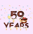 59th years happy birthday card vector image vector image