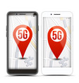 5g pointer sign on mobile screen smart vector image vector image