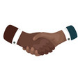 african mans shaking hands businessman making a vector image vector image