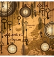 Antique background with map and clocks vector | Price: 1 Credit (USD $1)