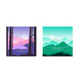 beautiful mountain landscape at sunset and at day vector image