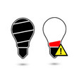 black bulb light in the shape of battery icon vector image vector image